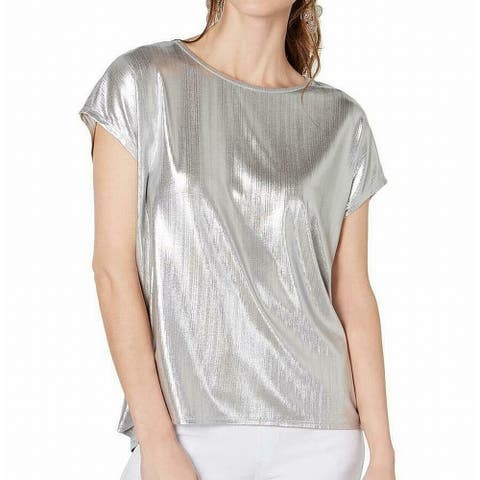 INC Womens Blouse Silver Size Medium M Metallic Shiny Crew Neck T-Shirt