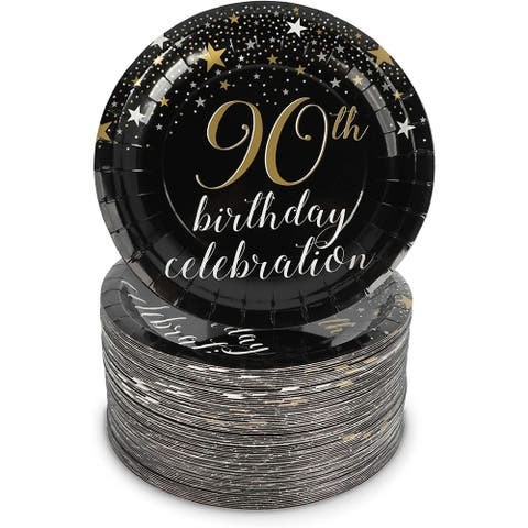 90th Birthday Party Decorations, Paper Plates (7 In, 80-Pack)