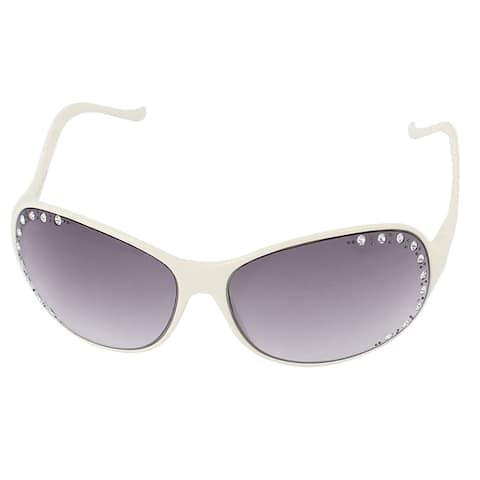 Lady Rhinestone Decor Slim Temple Sunglasses Eyewear Shades Beige