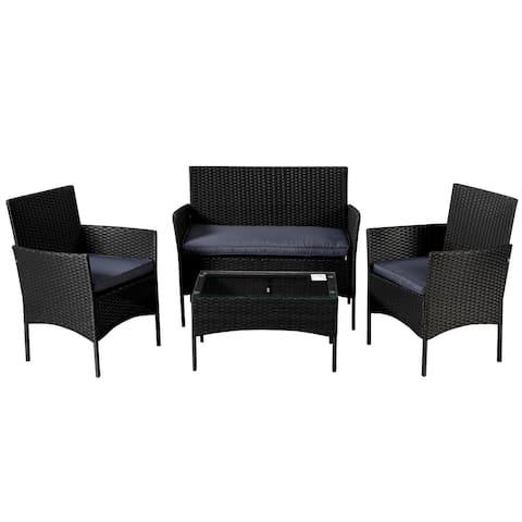Outdoor Sets Patio Furniture 4-Piece Black PE Rattan Wicker Sofa