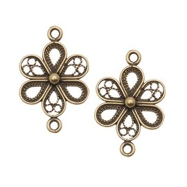 Antiqued Brass Ornate Flower Connector Link 21.5mm (2)