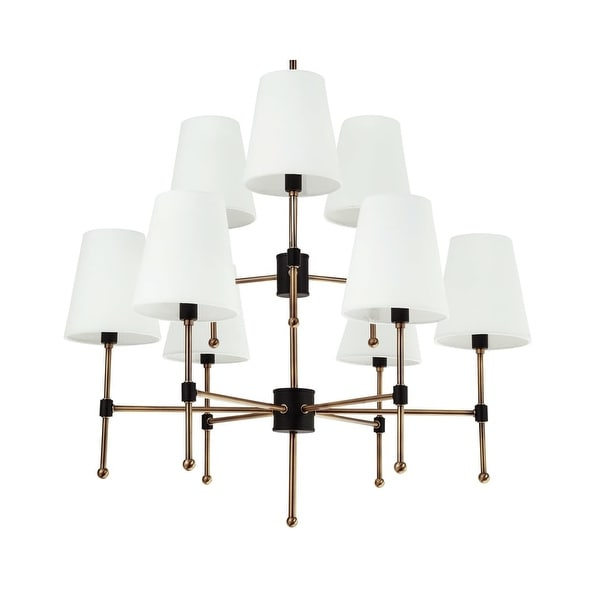 "Park Harbor PHHL6089 Beatty 29"" Wide 9 Light 2 Tier Chandelier with Tapered Shades"