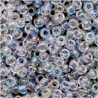 Toho Round Seed Beads 8/0 161 'Transparent Rainbow Crystal' 8 Gram Tube