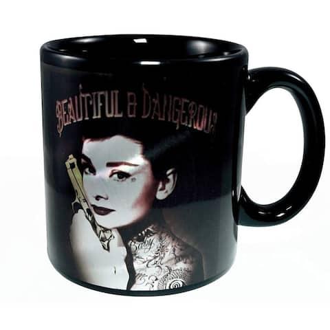 Audrey Hepburn Beautiful and Dangerous 20oz Ceramic Coffee Mug - Black