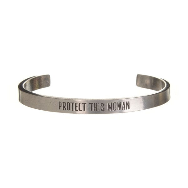 Women's Note To Self Inspirational Lead-Free Pewter Cuff Bracelet - Protect This Woman - Silver