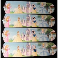 Disney Princess Castle Custom Designer 42in Ceiling Fan Blades Set - Multi