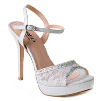 Sweetie's Shoes Silver Lace Jeweled Camilla Elegant Sandal