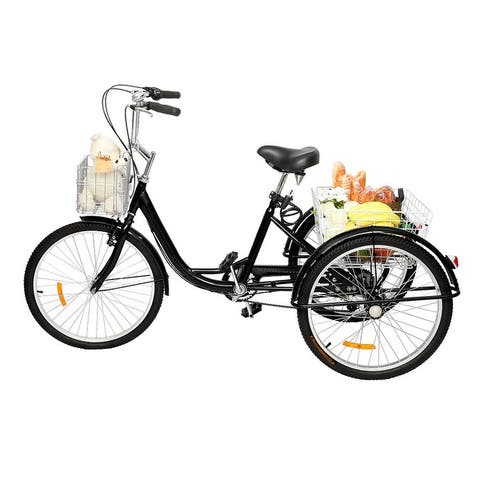 Adult Tricycle 24-Inch Wheel Trikes, Three Wheel Cruiser Bike