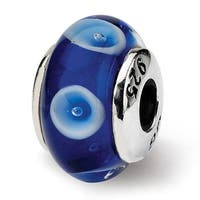 Sterling Silver Reflections Kids Blue Hand-blown Glass Bead (4mm Diameter Hole)