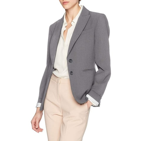 Tahari Womens Blazer Heather Gray Size 12 Notched Lapel Striped Career