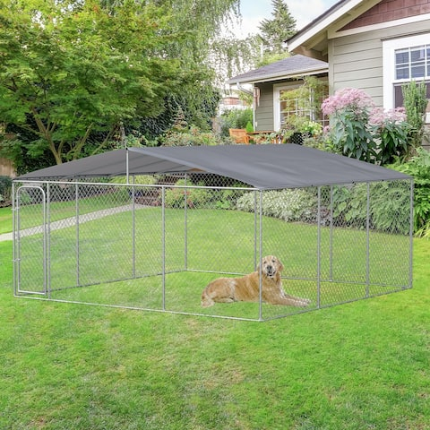 PawHut Outdoor Dog Kennel Galvanized Steel Fence with Cover Secure Lock Mesh Sidewalls for Backyard