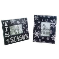 """Pack of 6 Black and White Snowflake Decorative Picture Frames 11.25"""""""