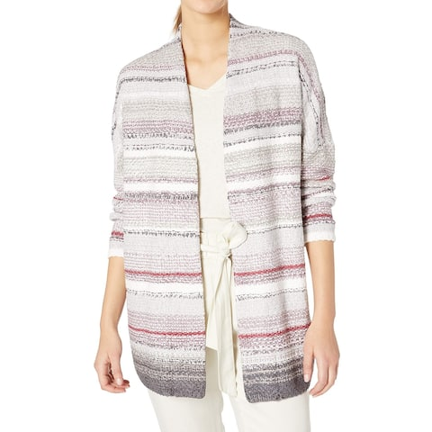 Nic + Zoe Women's Gray Size Medium M Striped Open Cardigan Sweater