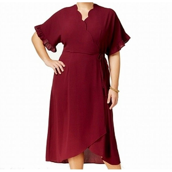 964dbba1c84e Shop Monteau Berry Purple Womens Size 1X Plus Scallop-Trim Wrap Dress -  Free Shipping On Orders Over  45 - Overstock - 27341796