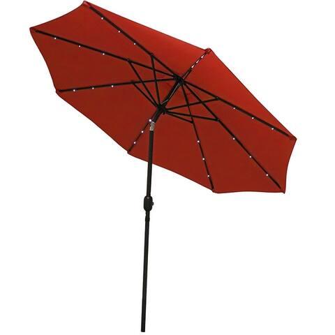 Sunnydaze Solar Lit Patio Umbrella w/ Tilt & Crank 9ft Aluminum - Color Options - 9 ft