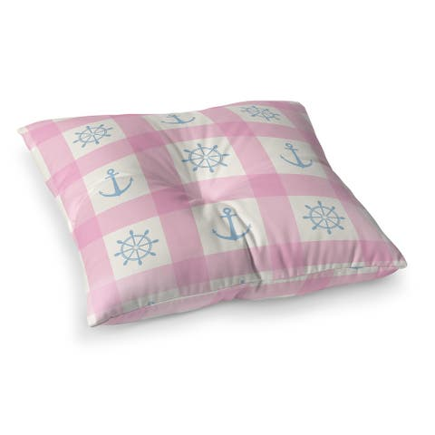 ANCHOR GALORE PINK and LIGHT BLUE Floor Pillow by Kavka Designs