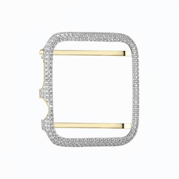 Apple Watch Bezel Mens Ladies 14k Gold On Sterling Silver Lab Diamond 38mm
