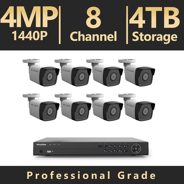 LaView 8 Channel UHD 4K IP NVR with (8) 4MP Bullet Cameras and a 4TB HDD