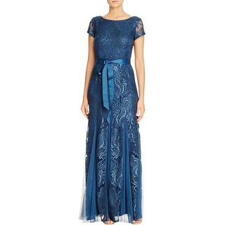 Adrianna Papell Womens Evening Dress Lace Sequined