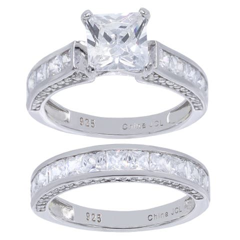 2-Piece Princess-Cut Cubic Zirconia Bridal Set Ring, Sterling Silver