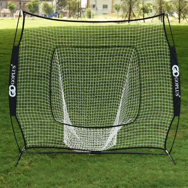 Costway 7X7' Baseball Softball Practice Hitting Batting Training Net Bow Frame Black Bag