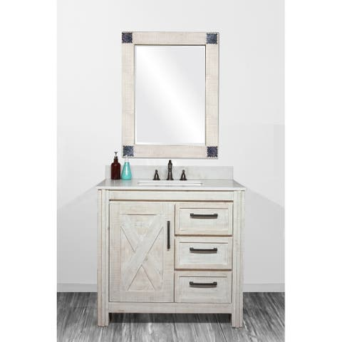 """37""""Special Edition Solid Fir Wood Single Bathroom Vanity in Sawed Pattern Design and Handpainted White Color with Marble Top"""