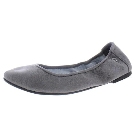 Minnetonka Womens Anna Ballerina Ballet Flats Leather Round Toe - Distressed Charcoal - 7.5 Medium (B,M)