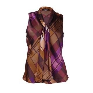 Nine West Women's Plaid Neck-Tie Satin Top - XL
