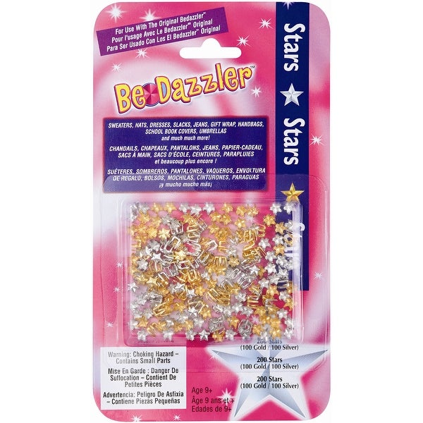 Be Dazzler Stud Refill 200/Pkg-Stars - Gold & Silver