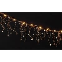 6' Battery Operated LED Lighted Faceted Gold Beaded Christmas Garland - Gold Wire