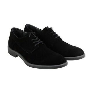Calvin Klein Yago Suede Mens Black Canvas Casual Dress Oxfords Shoes