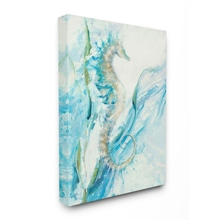 Link to Stupell Industries Nautical Seahorse Blue Fluid Ocean Water Canvas Wall Art Similar Items in Canvas Art