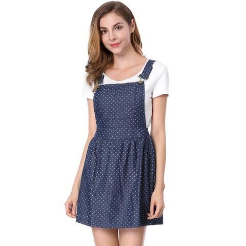 Unique Bargains Women's Dots Pattern A-line Overall Dress