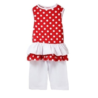 Little Girls Red White Polka Dot Ruffle Top Boutique Pants Outfit Set 12M-6