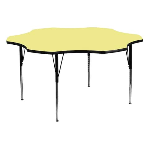 Offex 60'' Flower Shaped Activity Table with Yellow Thermal Fused Laminate Top and Standard Height Adjustable Legs - N/A