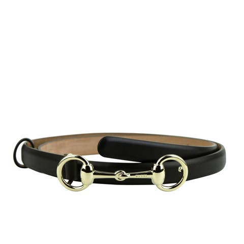 Gucci Women's Gold Horsebit Buckle Cocoa Brown Leather Skinny Belt 282349 2140