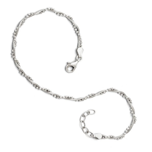 Sterling Silver Adjustable Anklet - 9 inches