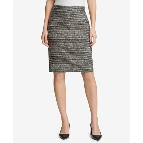 DKNY Womens Plaid Pencil Skirt, grey, 14