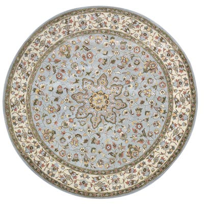 One of a Kind Hand-Tufted Persian 8' Round Oriental Wool Blue Rug - 8' Round
