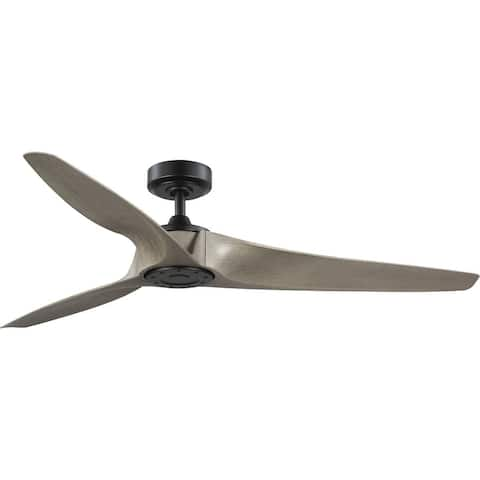 Manvel Collection 60-Inch Three-Blade DC Motor Transitional Ceiling Fan Grey Weathered Wood - 60 in x 60 in x 11.25 in