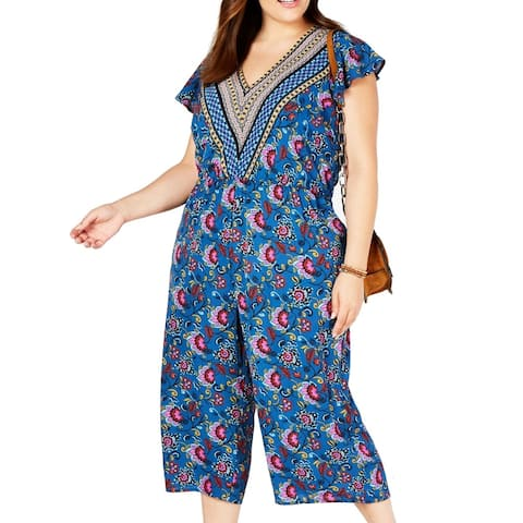Love Squared Womens Jumpsuit Magenta Blue 1X Plus Floral-Print V-Neck