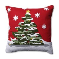 "16.5"" Red, Green, Yellow and White Flocked Christmas Tree Square Throw Pillow"