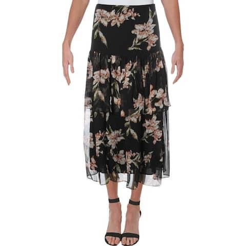 Lauren Ralph Lauren Womens Aubrianna Maxi Skirt Chiffon Floral Print - Black Multi