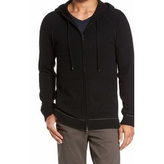 Vince NEW Black Mens Size Large L Full Zip Hooded Cashmere Sweater