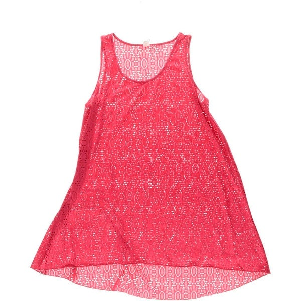 Gottex Womens High Low Crochet Dress Swim Cover-Up