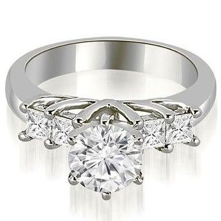 0.75 CT.TW Princess and Round Cut Diamond Engagement Ring - White H-I