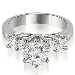 0.75 CT.TW Princess and Round Cut Diamond Engagement Ring - White H-I (Option: 4.25)