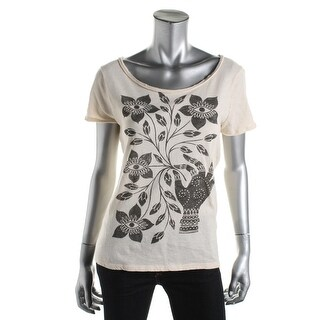 Lucky Brand Womens Open Back Boho Graphic Tee