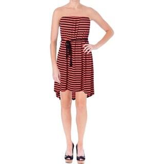 Aqua Womens Juniors Knit Hi-Low Casual Dress - L