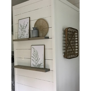 Rustic Wooden Floating Wall Shelves (Set of 2)